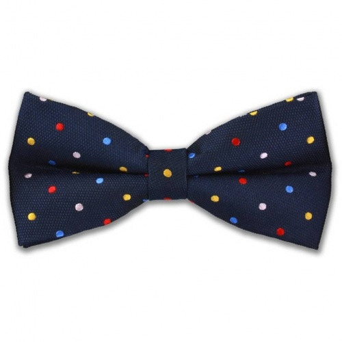 Silk Blue Polka Dot Bow Tie